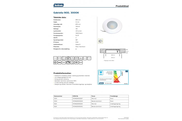 Gabriella Cabinet light 4W 350mA 2700K 90°