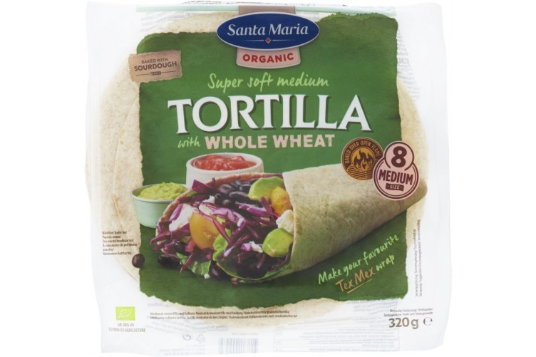 Santa Maria Org.Tortilla Whole Wheat 8pk 320g