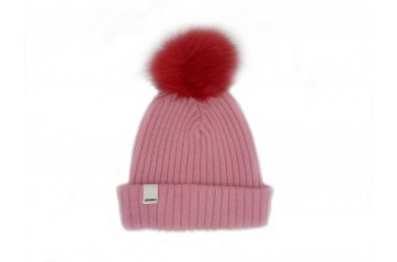 Ribbed Knit Beanie with Pom Pom