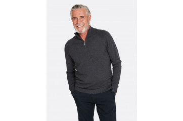 1/4 Zip Pima Cotton Dark Grey