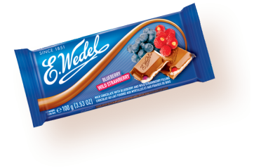 Pólsk Milk chocolate with straw/blueberry 100g