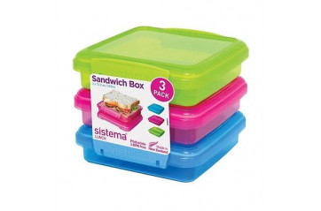 Sistema Samlokubox 450ml 3pk lituð