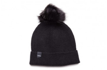 Beanie with faux fur pom