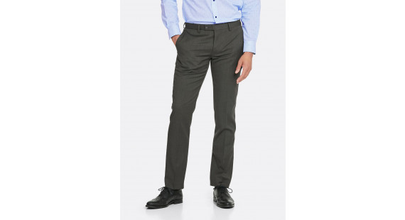 Wool Stretch Slim Suit Trouser - Charcoal