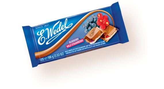 Milk chocolate with straw/blueberry 100g