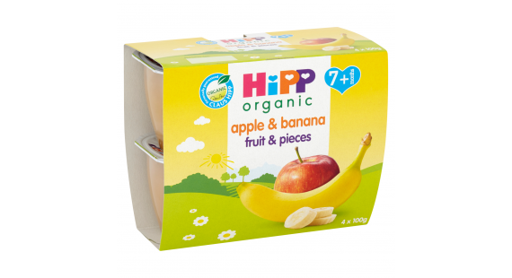 Hipp fpots apple&banana/pieces 100g